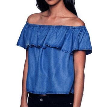 Fashion Summer Sexy Women Blouse Shirt Off Shoulder Top Sleeve Ruffle Jean Denim Shirt Ladie Cropped Crop Tops  LJ4885M