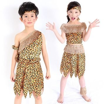 children savage caveman costumes boy leopard flintstone African tribal Hunter Indian clothing for girl
