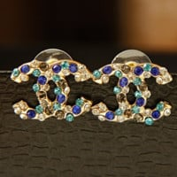 New Fasshion More Colorful Diamond Earring Women Accessories Golden