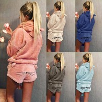 2018 New Autumn Winter Women's Two Piece Set Pajamas Warm Sleepwear Cute Cat Pattern Hoodies Shorts Out Fit S-5XL