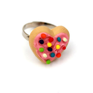 Heart Sugar Cookie Ring by sweetcraftjewelry on Etsy