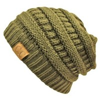 Olive Green Thick Slouchy Knit Over-Sized Beanie Cap Hat