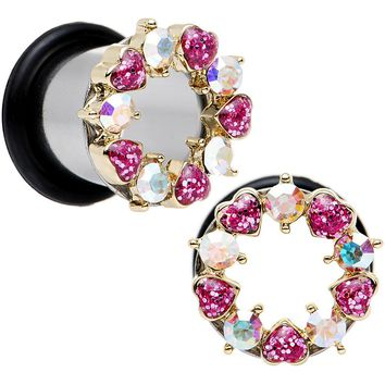 00 Gauge Aurora and Pink Gem Heart Wreath Single Flare Tunnel Plug Set