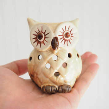 SALE mini brown Owl Candle Holder get 2 FREE CANDLES, Aromatherapy,diffuser for Essential Oil, oil Burner,Handmade Ceramic candle warmer,spa