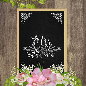 Mr and Mrs signs for wedding, Mr and Mrs chair signs, Wedding chalkboard signs, Chalkboard table signs, Mr and Mrs table signs