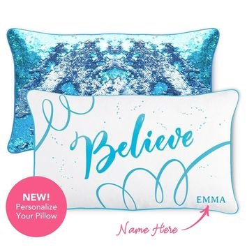 BELIEVE Pillow w/ Lake Blue & Silver Reversible Sequins