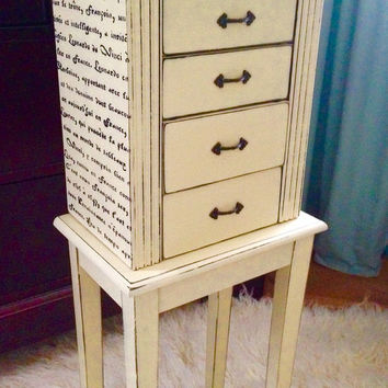 Jewlery Armoire Hand Painted Annie Sloan Chalk Paint Cream Distressed And Waxed