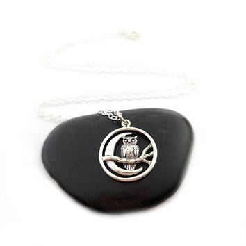 Moon Charm with Owl Necklace - Sterling Silver Jewelry