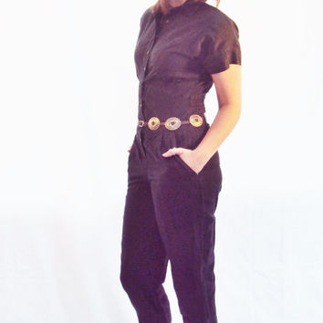 70s jumpsuit black utiilitarian MINIMALIST thin cotton POCKETS military tapered leg // xs, small