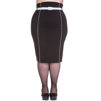 Hell Bunny 50's Vintage Contrast Piping Black Fitted Wiggle Pencil Skirt with Belt