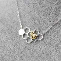 925 sterling silver necklace lovely bee hive gold-plated necklace