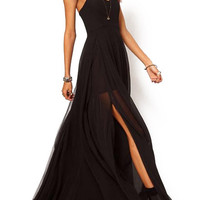 Black Spaghetti Strap Side Slit Chiffon Maxi Dress