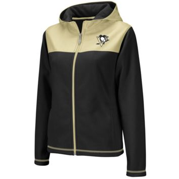 Reebok Pittsburgh Penguins Ladies Black-Gold Microfleece Full Zip Hoodie Jacket