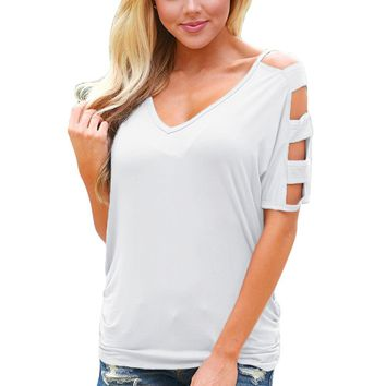 Chicloth White Cold Shoulder Ruched Sides T-shirt