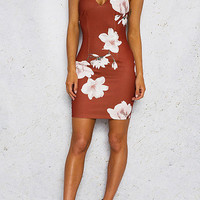 Brown Floral Print V-Neckline Cross Lace-Up Back Bodycon Dress