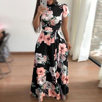 Fashion Charm Sexy Floral Long Dress Women Evening Dress Long Sleeve Midi Dresses For Women Party High Quality