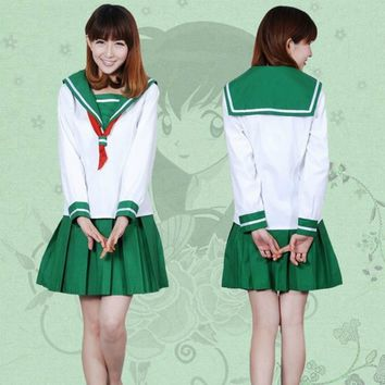Anime Inuyasha Higurashi Kagome Cosplay Costumes Girls School Uniform Whole Set ( Top + Skirt + Scarf ) Sailor Suits