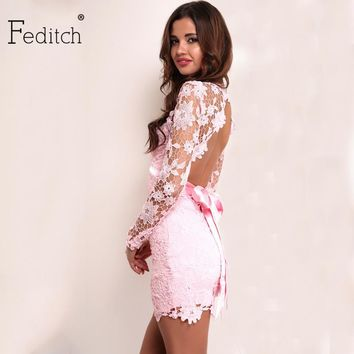 Feditch 2017 Women Lace Floral Dress Deep V Neck Sexy Dress Women Backless Mini Bodycon Dresses With Bow Belt Vestido De Festa