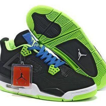 Cheap Air Jordans 4 Retro Men Black Blue Green Shoes