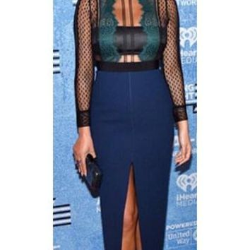 One Step Ahead Blue Black Sheer Mesh Lace Long Sleeve Crew Neck Front Slit Bodycon Midi Dress - Inspired by Chrissy Teigen