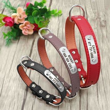 PU Leather Receiver Collar Personalized Pet ID Collar Customized for Small Medium Dog