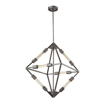 ELK Laboratory 6 Light Chandelier In Weathered Zinc With Bulb Included - 66894/6B