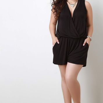 Sleeveless Surplice Romper