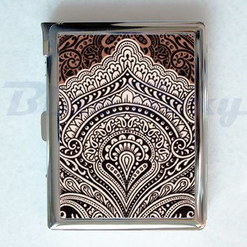 Vintage Brown Pattern Cigarette Case with Lighter, Cigarette Box, Card Holder