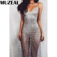 See Through Sequins Slip Dress V Neck Sleeveless Perspective Sexy Night Club Wear Party Spaghetti Dress Hot Lady Strap Dress 622