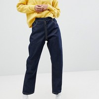 ASOS High Waist Authentic Straight Leg Jeans with Back Zip Through Rise Detail In Raw Indigo at asos.com