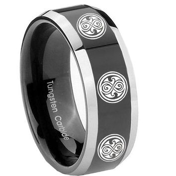 8MM Glossy Black Multiple Doctor Who Bevel Edges 2 Tone Tungsten Laser Engraved Ring