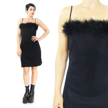 90s Black Maribou Feather Dress Black Bodycon Mini Dress Feather Black Party Dress LBD Spaghetti Strap Club Kid Spice Girls Dress (XS/S)