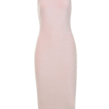 Clothing : Bodycon Dresses : 'Frankie' Pale Pink Lurex Midi Dress