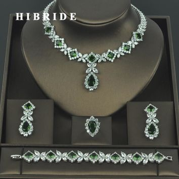 HIBRIDE Brilliant Cubic Zirconia Wedding Jewelry Sets For Women Bridal 4 pcs Earring Necklace Set Promotion Factory Price N-318