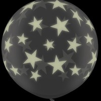 "Single Source Party Supplies - 36"" (3') Glow in the Dark Stars-A-Round Latex Balloon"