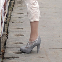 new ooak one of a kind grey suede high heeled by ewaiwanowska