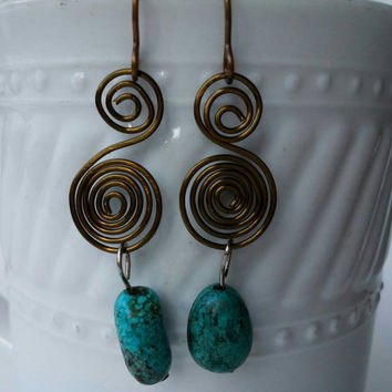 Copper Wire Coil Earrings with Crackly Turquoise Beads | Gypsy Earrings | Bohemian Earrings | Hand Forged Earrings | Hand Forged Jewelry