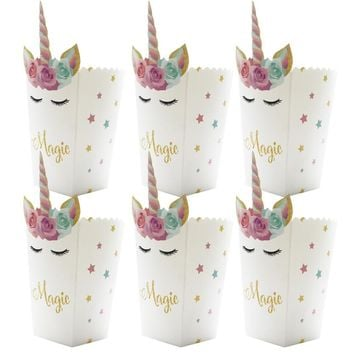 6pcs/lot Birthday Party Mini Popcorn Boxes Unicorn Colorful Star Candy Buffet Favor Magic Unicornio Party Baby Shower Paper Bags