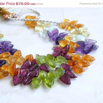 51% OFF Citrine Lemon Quartz Blue Topaz Amethyst Peridot Rhodolite Garnet Gemstone Carved Leaf Briolette 10 to 11mm 33 beads