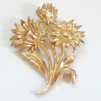 Vintage gold wildflowers brooch antique retro floral brooch