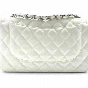 Chanel Quilting Patent Leather Jumbo Double Flap Flap Bag Beige 4727