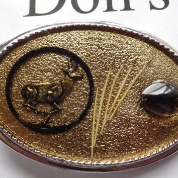 Gold Tone flakes enamel with Deer and Amber Stones Belt Buckle