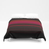 Rich Red Wine Striped Pattern Duvet Cover by Sheila Wenzel