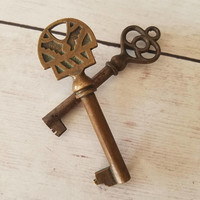 Vintage Brass Skeleton Key/ Brass Skeleton Key/ Vintage Key/ Decorative Key/ Ornate Key/ Antique Key