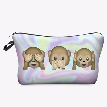 Monkey Emoji Pencil & Makeup Bag