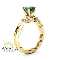 Round Emerald Promise Ring 14K Yellow Gold Victorian Solitaire Ring Natural Emerald Engagement Ring