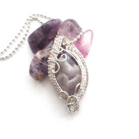 Amethyst Necklace, Wire Woven Purple Crystal Pendant, Wire Weave Handmade Pendant, Silver Wire Wrap Amethyst Stone, Unique Wire Art Jewelry