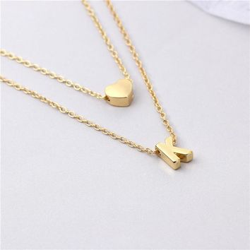 Customized Personalized Initial Letter Love Heart Necklace Pendant Charm Jewelry Double Layer Letter Chain Fashion Love Gift