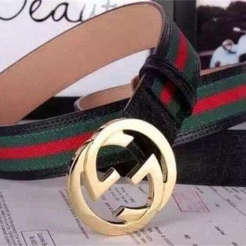 GUCCI Women Men Red Green Stripe Print Belt I