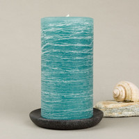 Teal Rustic Pillar Candle 3 x 6""